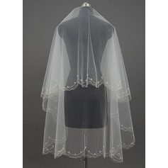 One-tier Cut Edge Waltz Bridal Veils With Faux Pearl