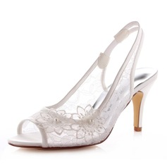 Women's Lace Satin Stiletto Heel Peep Toe Sandals Slingbacks