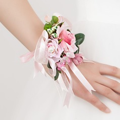 Sweet Free-Form Satin/Cotton Wrist Corsage