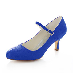 Women's Lace Stiletto Heel Closed Toe Pumps With Buckle