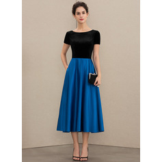 A-Line Scoop Neck Tea-Length Satin Velvet Mother of the Bride Dress With Pockets