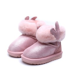 Girl's Closed Toe Snow Boots Real Leather Flat Heel Boots With Zipper