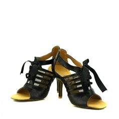 Women's Real Leather Heels Sandals Pumps Latin Dance Shoes