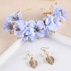 Fashion Alloy/Silk Flower Headbands (Set of 2)