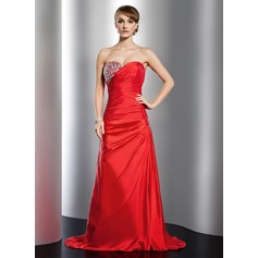 A-Line/Princess Sweetheart Sweep Train Taffeta Holiday Dress With Ruffle Beading