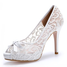 Women's Mesh Spool Heel Closed Toe Platform Pumps With Bowknot