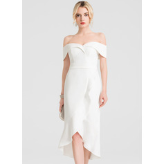 Trumpet/Mermaid Off-the-Shoulder Asymmetrical Stretch Crepe Cocktail Dress With Ruffle Cascading Ruffles
