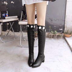 Women's PU Chunky Heel Boots Over The Knee Boots With Satin Flower Zipper shoes