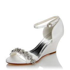 Women's Satin Silk Like Satin Wedge Heel Peep Toe Wedges With Chain