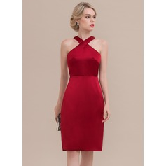Sheath/Column Knee-Length Satin Cocktail Dress