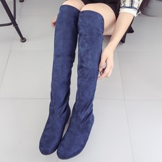 Women's Suede Low Heel Pumps Boots Over The Knee Boots With Others shoes