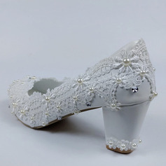 Women's Leatherette Chunky Heel Closed Toe Pumps With Imitation Pearl Rhinestone Stitching Lace