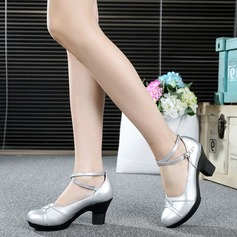 Real Leather Heels Pumps Ballroom With Ankle Strap Dance Shoes