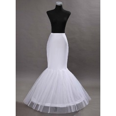 Women Tulle Netting/Satin Floor-length 2 Tiers Bustle (037117073)