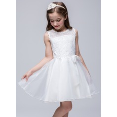 A-Line/Princess Short/Mini Flower Girl Dress - Polyester Sleeveless Scoop Neck With Lace/Beading/Bow(s)