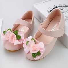 Jentas Round Toe Lukket Tå Leather flat Heel Flate sko Flower Girl Shoes med Velcro Blomst