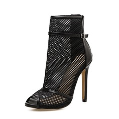 Women's Mesh Stiletto Heel Pumps Boots Peep Toe Ankle Boots With Zipper shoes