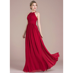 A-Line/Princess Scoop Neck Floor-Length Chiffon Prom Dresses With Ruffle (018116378)