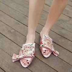 Women's Satin Flat Heel Flats Peep Toe Slingbacks Slippers With Satin Flower shoes (087124331)