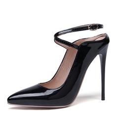 Kvinnor Lackskinn Stilettklack Pumps Slingbacks skor (085192666)