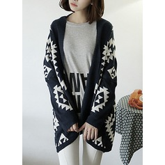Geometric Print Cotton Blends Cardigan Sweaters (1002157820)