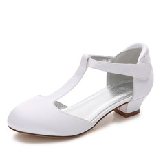 Jentas Round Toe Lukket Tå Mary Jane Silk Som Satin lav Heel Flower Girl Shoes med Velcro