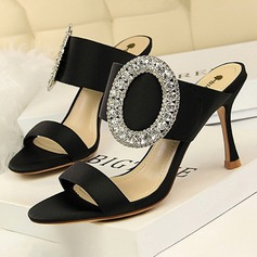 Women's Silk Like Satin Stiletto Heel Sandals Pumps Peep Toe With Rhinestone Buckle shoes