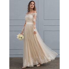 A-Line Off-the-Shoulder Floor-Length Tulle Lace Wedding Dress