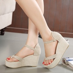 Women's Suede Wedge Heel Peep Toe Sandals Wedges