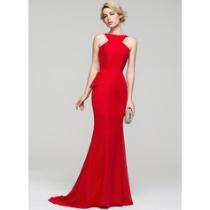 Trumpet/Mermaid Scoop Neck Sweep Train Chiffon Evening Dress With Cascading Ruffles
