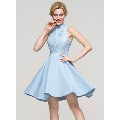 A-Linie/Princess-Linie High Neck Kurz/Mini Strech-Krepp Cocktailkleid