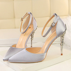 Women's Satin Stiletto Heel Pumps Closed Toe With Jewelry Heel shoes (085122721)