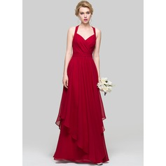 A-Line/Princess Floor-Length Chiffon Bridesmaid Dress With Cascading Ruffles