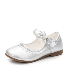 Girl's Round Toe Microfiber Leather Flat Heel Flats With Bowknot Velcro