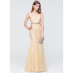 Trumpet/Mermaid V-neck Floor-Length Tulle Prom Dress With Beading