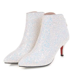 Women's Sparkling Glitter Spool Heel Boots Closed Toe With Zipper