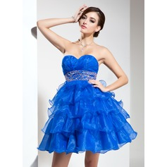 Empire Sweetheart Short/Mini Organza Homecoming Dress With Beading Cascading Ruffles