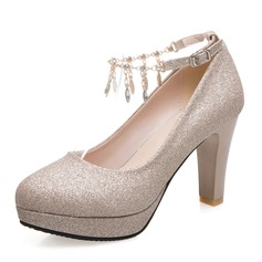 Women's Sparkling Glitter Chunky Heel Pumps Platform Closed Toe With Rhinestone Tassel shoes (085188308)