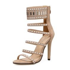 Frauen Veloursleder Stöckel Absatz Sandalen Absatzschuhe Peep Toe mit Niete Reißverschluss Schuhe