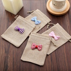 Random Colors Linen Favor Bags With Bow