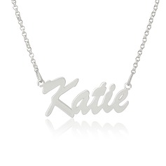 Christmas Gifts For Her - Custom Silver Letter Vintage Name Necklace (288211342)