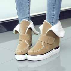 Women's Suede Flat Heel Platform Ankle Boots shoes