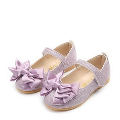 Girl's Leatherette Flat Heel Closed Toe Flats With Bowknot Sparkling Glitter Velcro