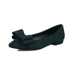 Women's Leatherette Flat Heel Flats Closed Toe With Bowknot shoes (086094917)