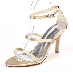 Women's Silk Like Satin Stiletto Heel Peep Toe Sandals With Buckle