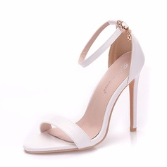 Women's Leatherette Spool Heel Peep Toe Pumps