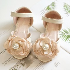 Girl's Peep Toe Leatherette Flat Heel Flats Flower Girl Shoes With Bowknot Velcro Pearl