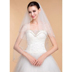 Two-tier Beaded Edge Elbow Bridal Veils With Rhinestones