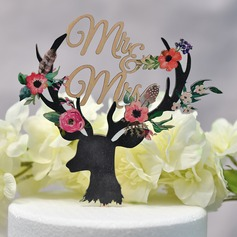 Classic/Mr. & Mrs. Wood Cake Topper (Sold in a single piece)
