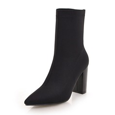 Women's Cloth Chunky Heel Boots Mid-Calf Boots shoes